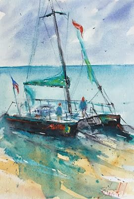 "Catamaran Watercolor, Contemporary Sailboat painting, ""MAITAI CATAMARAN HONOLULU"", North Carolina Watercolor Artist Carolyn Zbavitel"
