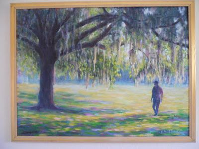LaFayette Square, Savannah Art, Spanish Moss Painting, Large Oil Landscape