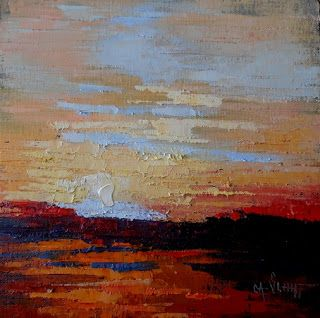 Abstract Landscape Painting, Textured Painting, Daily Painting, Small Oil Painting, 10x10x3