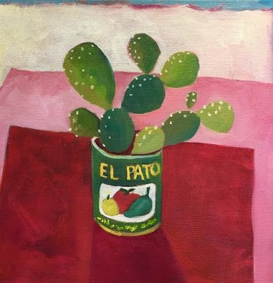 Contemporary Abstract Still Life Art,Bold Expressive Painting 'El Pato' by Santa Fe Artist Annie O'Brien Gonzales