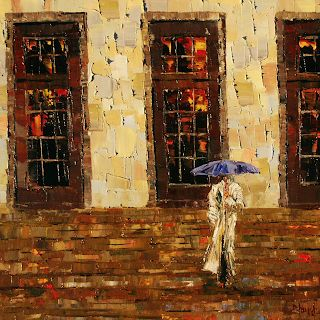 "Abstract Figurative,Woman, Cityscape Painting ""Down The Steps"" by Texas Artist Debra Hurd"