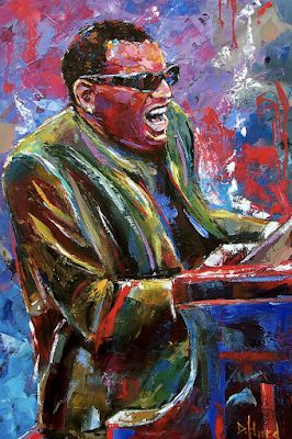 "Ray Charles, Jazz Portrait Painting,Music Art Paintings, Piano ""Mr. Ray"" By Texas Artist Debra Hurd"