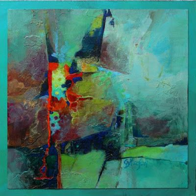 "Mixed Media Abstract Painting, ""Cattywampus"" by Colorado Mixed Media Abstract Artist Carol Nelson"