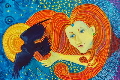 """Original Whimsical Female Figurative Painting """"Yellow Lady and Raven"""" by Colorado Artist Nancee Jean Busse"""