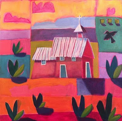 """Contemporary New Mexico Architecture Church Painting, Bold Expressive Landscape """"New Mexico Church"""" by Santa Fe Artist Annie O'Brien Gonzales"""