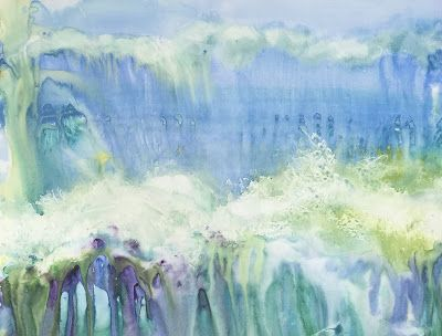 "Contemporary Art, Abstract Seascape, Original Watercolor Painting ""GOIN' SURFIN'"" by Contemporary Artist Lou Jordan"
