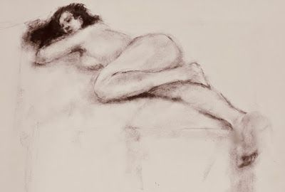 Elisa's Pose - charcoal drawing of a nude model