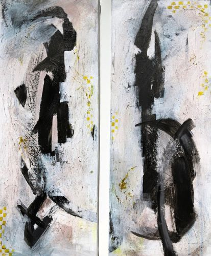 """""""Let the Dance Begin"""" - Abstract Diptych Painting by Arizona Artist, Sharon Sieben"""