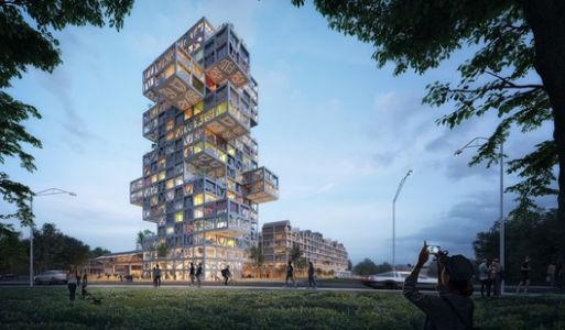 MVRDV Designs Cubic Tower that can be Manipulated during Construction