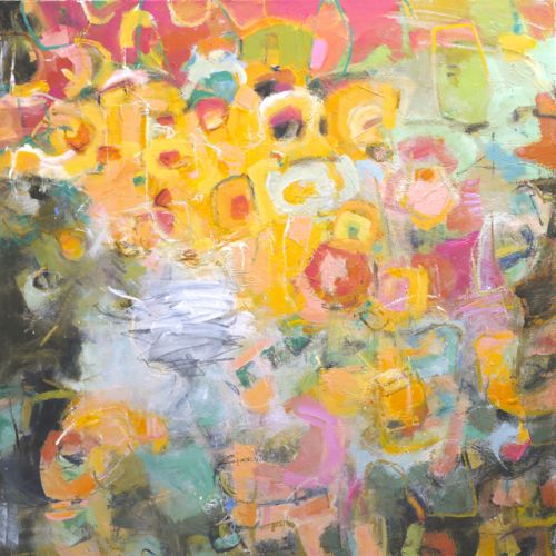 "Modern Abstract Painting ""MOONLIGHT & ROSES"" by Elizabeth Chapman"