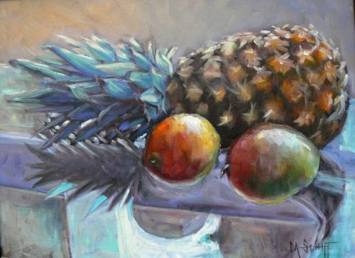 Pineapple and Mango Artwork, Fruit Oil Painting, Framed Still Life, 14x18