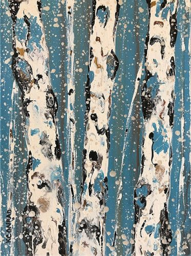 "Aspen Tree Painting, Abstract Aspens,Snow, Landscape ""STANDING STRONG - ASPENS IN WINTER 2018 SERIES"" by Colorado Contemporary Landscape Artist Kimberly Conrad"