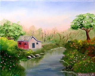 Mark Webster - Barn and Oak Tree by the Creek Oil Painting