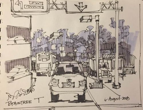 "Day 302 ""Braintree T - Pick Up"" ink & marker 6 x 9"