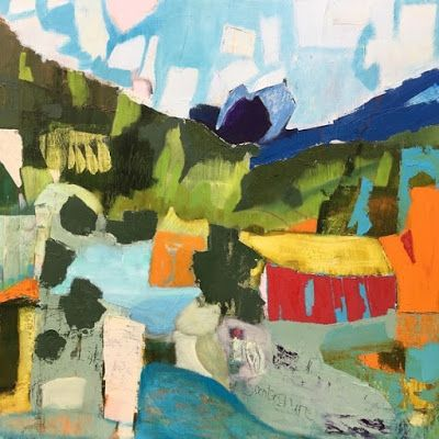 """Abstract Landscape, Contemporary Art, Abstract,Expressionism, Studio 9 Fine Art """"On an Eastern Slope"""" by International Abstract Artist Amanda Saint Claire"""
