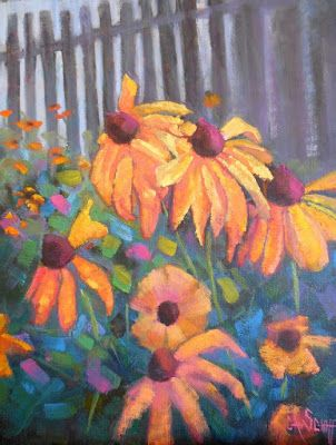 Floral Landscape, Floral Still Life Painting, Small Oil Painting, Daily Painting, Echinacea 11x14