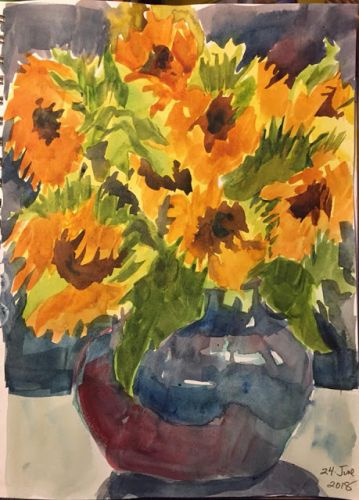"Day 258 ""Bouquet"" watercolor 12 x 9"