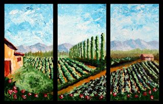 Mark Webster - Vineyard Palette Knife Acrylic Painting Triptych