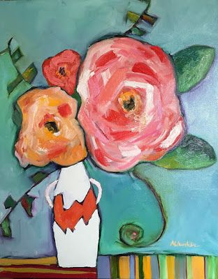 "Contemporary Expressionist Still Life Fine Art Painting ""PLAYTIME"" by Oklahoma Artist Nancy Junkin"