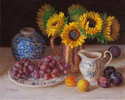 Still life with sunflower and grapes original oil painting