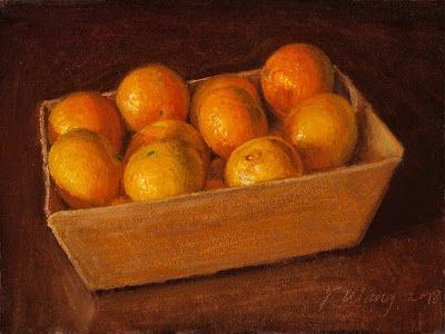 Clementine fruit still life oil painting original daily painting a day