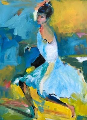 "Dancer, Abstract Figurative Paintin g,Fine Art Painting,Expressionist Portrait,Blue Dress ""Waiting Her Turn"" by Oklahoma Artist Nancy Junkin"