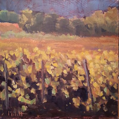 Vineyard in Autumn Landscape Oil Painting and Prints Heidi Malott