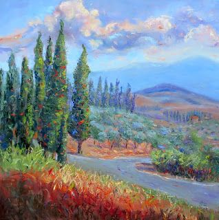 Cypress Jazz, Contemporary Landscape Painting by Sheri Jones