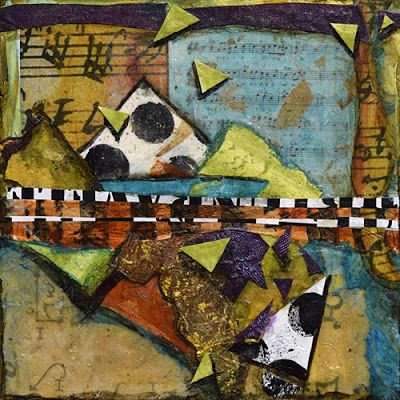 "Contemporary Art, Mixed Media Abstract Painting, ""Sing to Me"" by Santa Fe Contemporary Artist Sandra Duran Wilson"