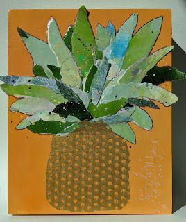 """Paper Sculpture, Collage """"PAPER PINEAPPLE"""