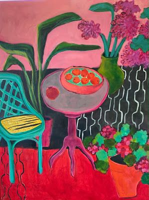 """Contemporary Expressionist Still Life Art, Bold Expressive Painting """"Henri's Balcony"""" by Santa Fe Artist Annie O'Brien Gonzales"""