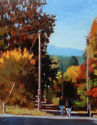 """Harrison Street"" Fall landscape, oil painting by Robin Weiss"