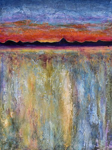 "Contemporary Landscape, Abstract Mixed Media Painting, ""Mesas and Mountains"" by Santa Fe Contemporary Artist Sandra Duran Wilson"