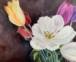 Tulips, by Melissa A. Torres, 9x12 oil on canvas, SOLD