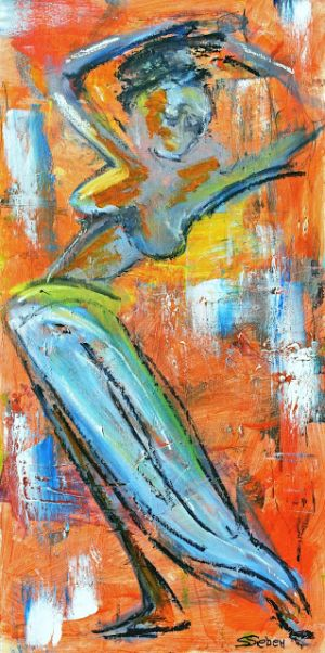 Exuberance, Abstract Figurative Painting by Arizona Artist, Sharon Sieben