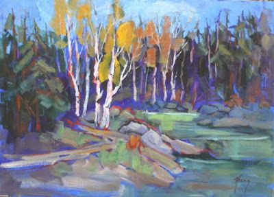 "Contemporary Colorado Landscape Painting, Fine Art Oil Painting ""Upper Lake Trail"" by Colorado Contemporary Fine Artist Jody Ahrens"