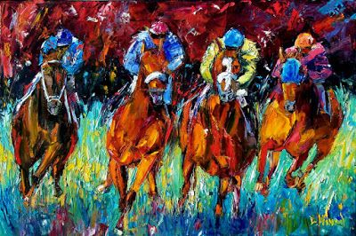 "Churchill Downs, Horse Race Art, Fine Art Print, Jockey ""Endurance"