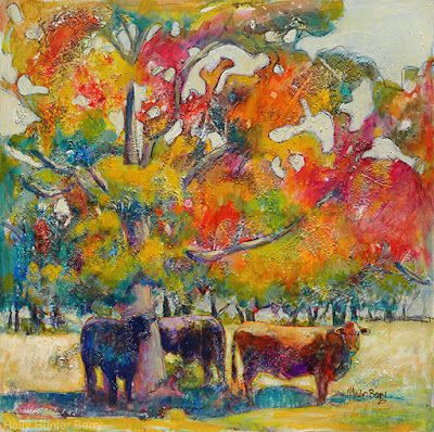 "Contemporary Landscape Painting,Cows,Pasture, Mixed Media, Water, Trees, Fine Art For Sale, ""When Two or More Gather"" By Passionate Purposeful Painter Holly Hunter Berry"