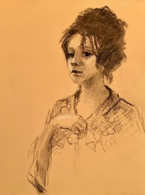 My Reluctant Model - original charcoal portrait sk