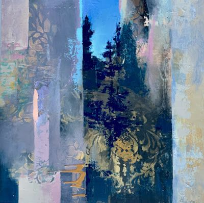 "Contemporary Landscape, Painting, Abstract Art ""EVENING APPROACHING"" by Intuitive Artist Joan Fullerton"