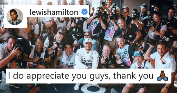F1 Superstar Lewis Hamilton Thanks the Photographers Who Cover Him
