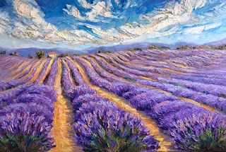 """New """"Cultivating Aromas"""" Palette Knife Lavender Painting by Niki Gulley"""