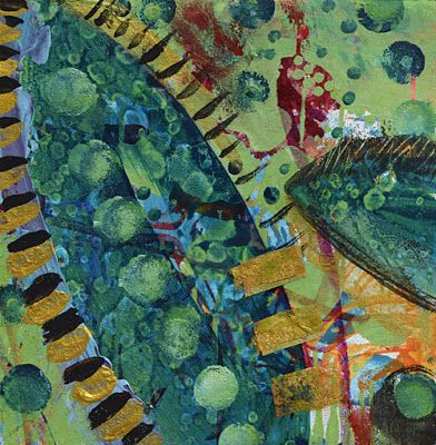 "Mixed Media Abstract Painting, Contemporary Art ""Jungle Journey"" by Santa Fe Contemporary Artist Sandra Duran Wilson"