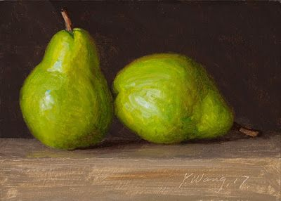 Two pears oil painting small daily painting day