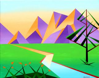 Mark Webster - Geometric Mountain River at Sunset with Flowers Acrylic Painting