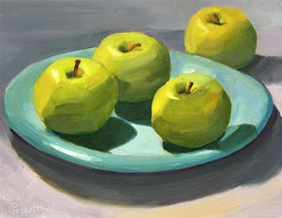 Green Apples on Blue Plate