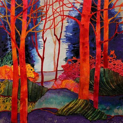 "Mixed Media Abstract Tree Landscape Painting, ""Fantasia 2"" by Colorado Mixed Media Artist Carol Nelson Fine Art"