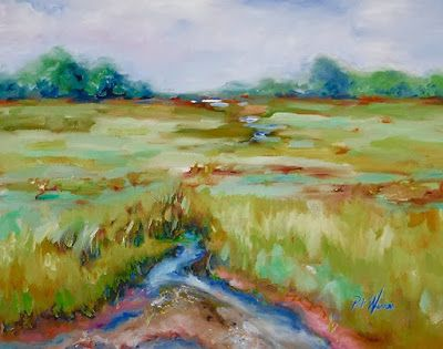 """Georgia Landscape,Impressionism Painting """"Oyster Entry"""" by Georgia Artist Pat Warren"""