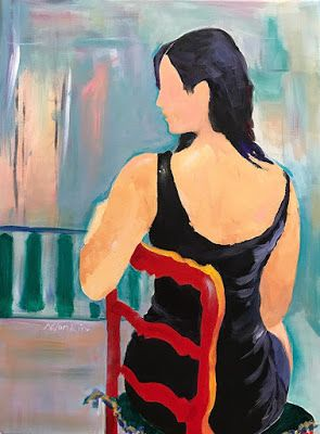 "Abstract Figurative Painting,Fine Art Painting,Red Chair ""Lady in Red Chair"" by Oklahoma Artist Nancy Junkin"