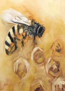 SOLD, Honey Bee, Melissa A. Torres, 5x7 oil on canvas panel